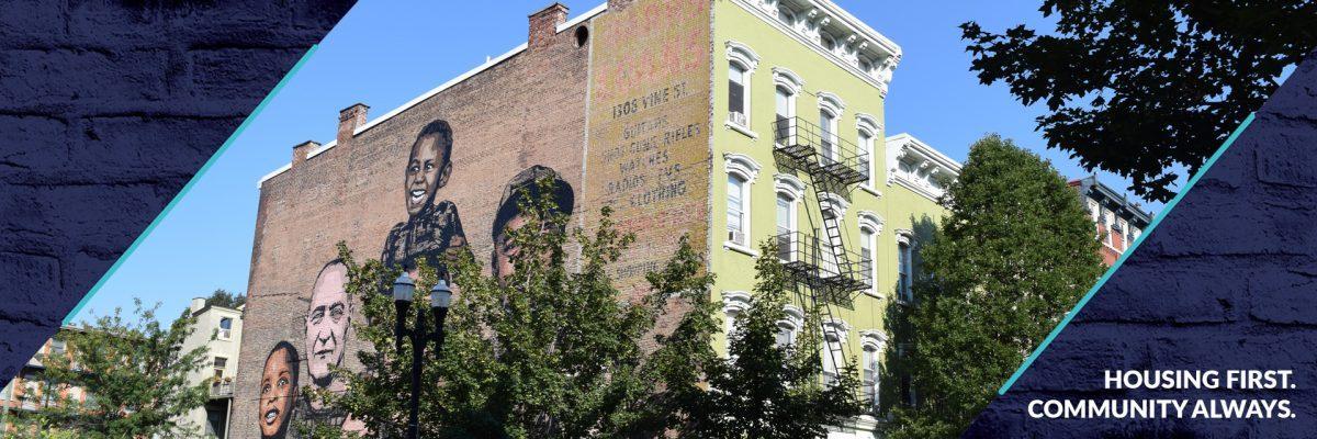 Side of Recover Hotel, Homelessness Mural, on Vine Street
