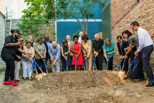 OTRCH Board members and donors at service center renovation groundbreaking ceremony